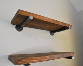 "10"" Deep Industrial Floating Shelf, Special Cap Pipe Support, Farmhouse Shelf, Wall Shelf, Open Shelving, Kitchen Shelve"