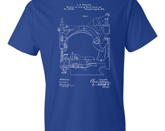 Straw Braid Sewing Machine T-Shirt Patent Art Gift, Sewing T-Shirt, Sewing Machine Shirt, Stitching T-Shirt, Sewing Gift, Stitching Gift