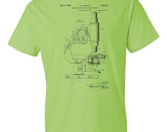 Microscope T-Shirt Patent Art Gift, Science T-shirt, Microscope Patent, Biology Gift, Biologist Gift, Science Gift, Scientist Gift
