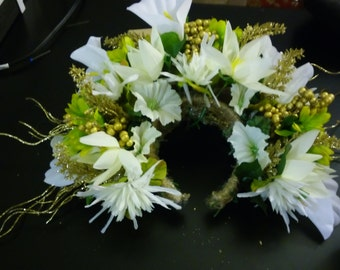 Beautiful golden flower fairy   head piece