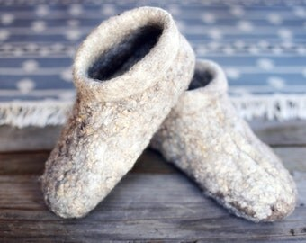 Felted slipper boots, boiled wool shoes, home slippers, organic wool home footwear, warm and dry slippers, valenki