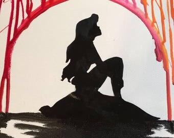 Ariel crayon canvas