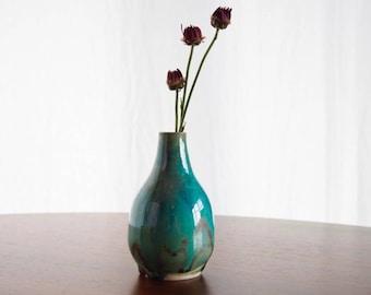 Electrifying Bud Vase - Gun Metal Turquoise