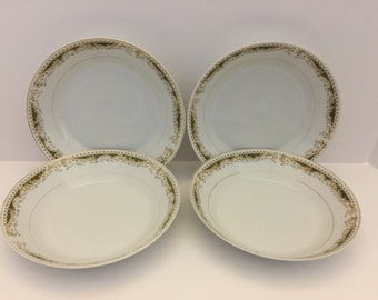 Set of 4 - Queen Anne Signature Collection large bowls with gold trim- 1970's