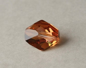 Swarovski 5523 Crystal Copper Bead, Faceted Crystal Pendant, Crystal Nugget, Swarovksi Component, Burnt Orange Crystal