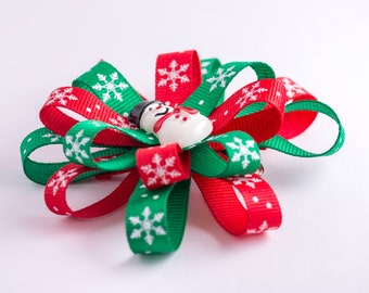 Snowman Winter red and green flower hair bow
