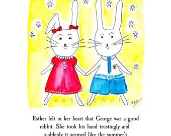Personalised Print, Rabbit lover gift, Bunny print, Rabbit print, Anniversary gift, Bunny print, Bunny Rabbit, Gift for friend, Love art