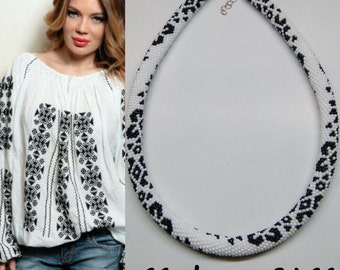 White and black etno necklace. Beaded rope. Crochet necklace