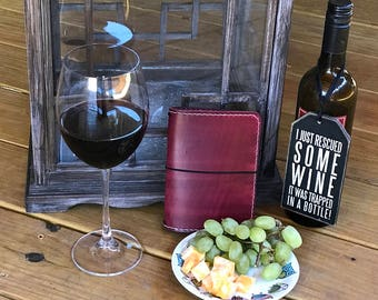 Wine After Nine Sewn Border Travelers Notebook, Leather Travelers Notebook, Crisdori Studios, Fauxdori, Midori