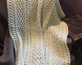 Pale Green Crocheted Cables Afghan
