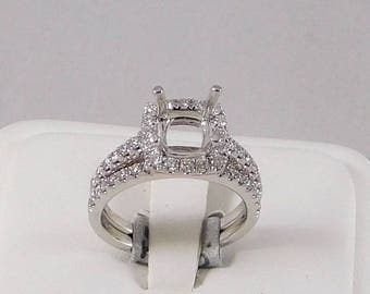 Diamond Mounting, 0.77ct with Halo for Princess Cut, Cushion Cut, or Round Cut