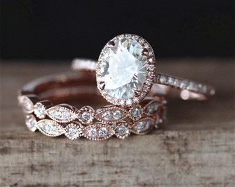 3PCS Moissanite Engagement Ring Set Forever Brilliant 6*8mm Oval Moissanite Ring Art Deco Half Eternity Wedding Ring  14K Rose Gold Ring Set
