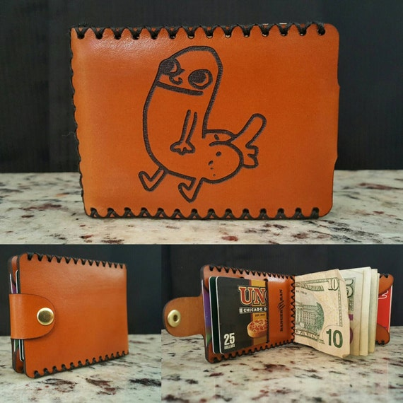 DickButt Wallet made with Premium Tan English Bridle leather