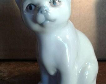 Charcoal Blue Japanese Porcelain Cat, Otagiri