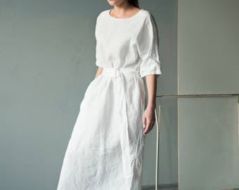NEW Loose fitting white maxi dress from natural linen / fit-to-flare dress with a belt with 3/4 sleeves