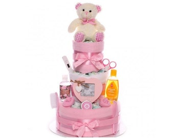 Traditional Baby Girl Nappy Cake, nappy cake baby girl, baby girl nappy cake gift, send a nappy cake gift, gift baby girl, maternity leave
