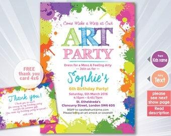 Paint splatter invitation - Paint splatter birthday party - boy girl invitation - colorfull invitation - personalized - printable