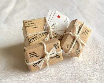 Tiny Packages Brooch, Miniatures jewelery, Unique Brooch Accessory, Mailman Gift, Unique Jewelry