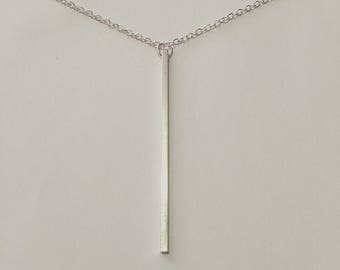 Silver Solid Bar Pendant Necklace