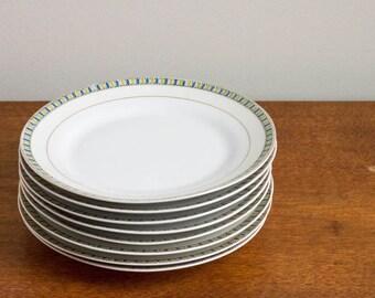 Vintage White Dessert Plates, Vintage Gold Rimmed Dessert Plates | Set of 8