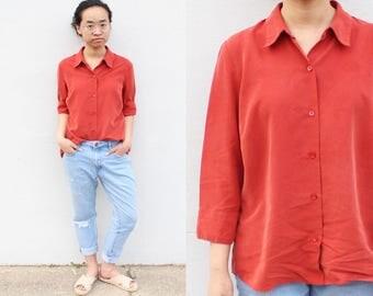 Rust Button Blouse Silk Top