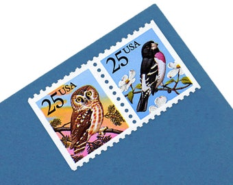 20 Owl and Grosbeak Bird Stamps - 25c - Vintage 1988 - Unused Postage - Birds