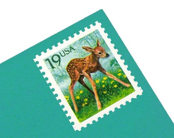 25 Deer Fawn Stamps - 19c - Vintage 1991 - Unused - Quantity of 25