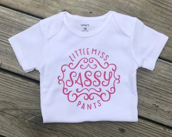 Little Miss Sassy Pants Bodysuit, Coming Home Outfit, Girls Bodysuit, Baby Shower Gift, Pink and gold bodysuit, Baby Shirt,  Baby Clothes