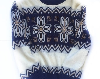 Styled in California Acrylic Sweater - Blue and White Snowflake, Vintage (1970s)