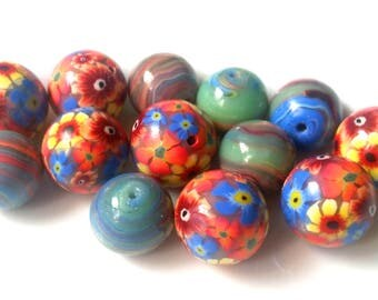 15 polymer clay beads, green, orange, blue, flower beads, floral, Claybeads, floral