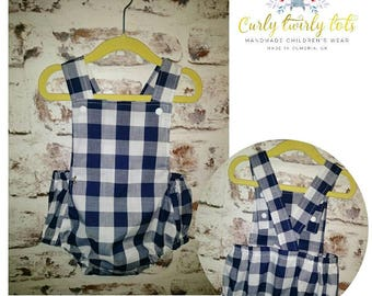 Handmade large gingham  retro romper childrenswear Spanish style