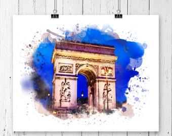Paris Arc de Triomphe Watercolor  Fine  Art Print, Poster, Wall Art, Home Decor,Office Decor, College Wall Art, Wall Decor