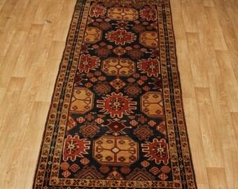 Tribal Navy Blue Afshar Meshkin Runner Persian Oriental Area Rug Carpet 4X10
