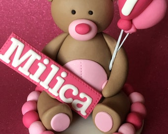 Edible 3d fondant TEDDY BEAR cake topper. Kids cake decorations. Personalized. Balloons.