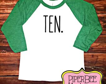 Ten Year Old Birthday Shirt, Tenth Birthday Boy Shirt, 10 Year Birthday Shirt, 10th Birthday Shirt, Birthday Boy Outfit, Raglan Shirt