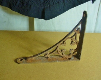 Gothic Victorian Vintage Shelf Bracket Original Cast Iron Small Size Single Shabby Rusty
