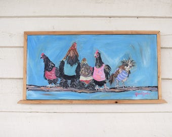 """SOLD. animal painting - chicken painting - """"Ministry"""""""