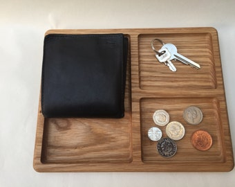 Man tray / Valet tray / Coin Tidy / Solid Oak / Organiser / Jewellery Tidy / Office Tidy / Bedside Table