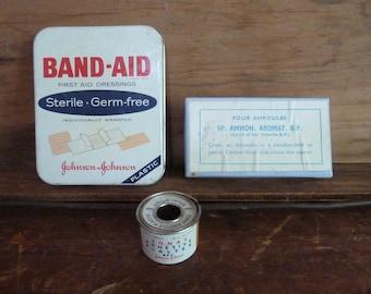 vintage first aid kit / johnson and johnson first aid kit / metal rx tin / vintage / first aid kit / industrial/ bathroom /laundry/ band aid