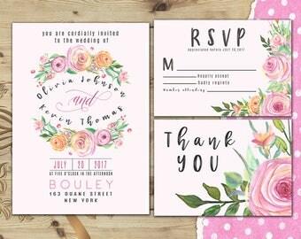 Garden wedding invitation set Garden wedding invite suite Wedding invite package Garden wedding invitation Roses floral wedding invite W28