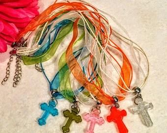 10 Pcs Necklace Baptism, First Communion Multi-Color Organza necklace party favors.