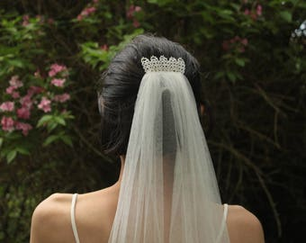 Bride veil decorated comb lace - ballet silk veil-  bridal headpiece - silk tulle veil for wedding - thin french silk tulle and Calais lace