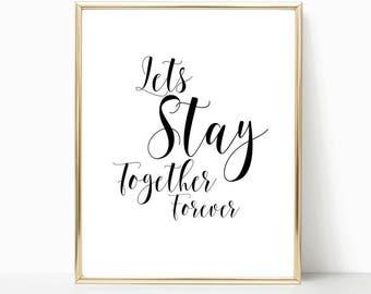 romantic print, romantic quote, typography print, bedroom print, couples print, wall art, home decor, bedroom art, print, bedroom decor