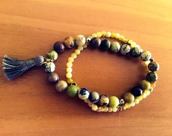 Jade and citrine bracelet.