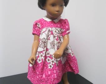 Flowered border print classic yoke dress for 16 inch Sasha Doll