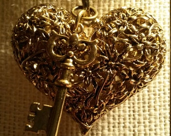 Lace Heart and Key Necklace/Gold Plated Large Heart/Lace Heart/Gold Plated Key/Debra's Design Studio/One of a Kind