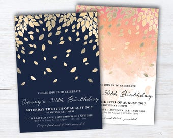 Navy and Gold Botanic Birthday Invitation, Peach and Gold Botanic Birthday Invite, Navy Blue, Peach DIY Printable, Botanical (Falling)
