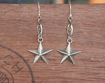 Sterling Silver Faceted Star Earrings with Antique Filigree Links