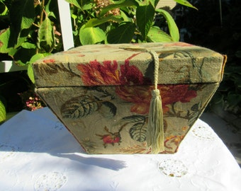 CLEARANCE  Vintage Fabric Covered Storage Box Decorative Piece Display Piece  425