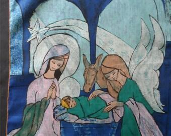 Free Shipping In USA 1966 A. Skandia Design by Robinson & Golluber Ladies Cotton Handkerchief Batik Design Angel Visit to Nativity    954